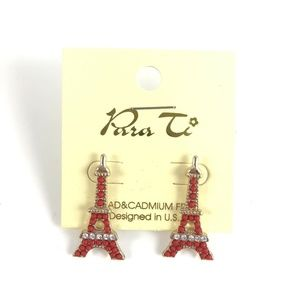 Para Ti Eiffel tower French France coral earrings
